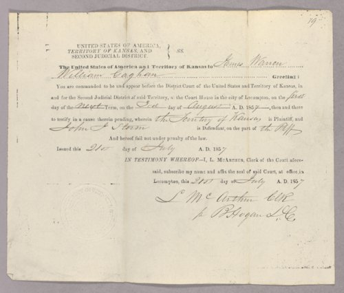 Kansas Territory versus John J. Storm for selling liquor without a license - Page