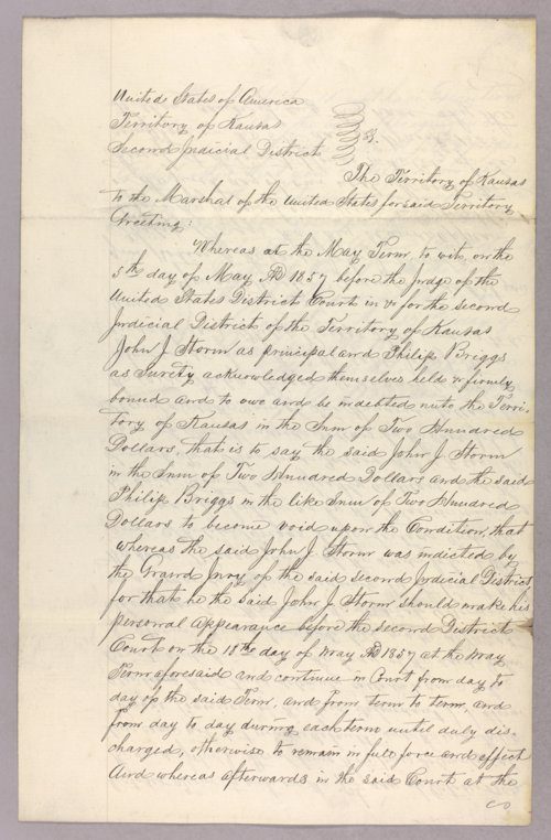 Kansas Territory versus John J. Storm for forfeited recognizance - Page