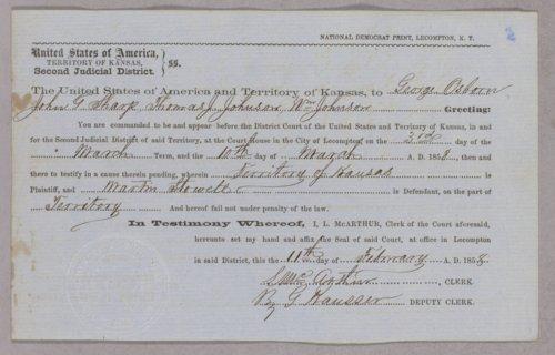 Kansas Territory versus Martin Stowell for grand larceny - Page