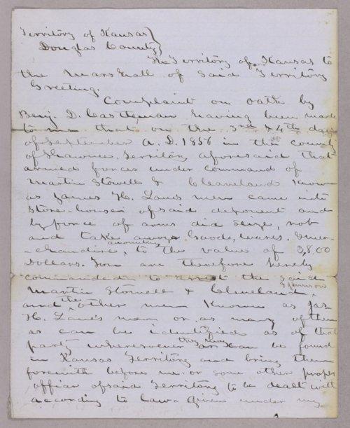Kansas Territory versus Martin Stowell for larceny - Page