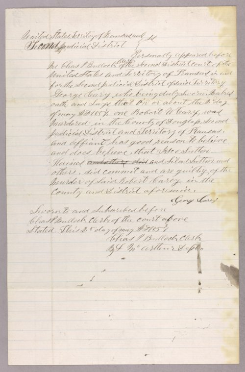 Kansas Territory versus Sutton for murder - Page