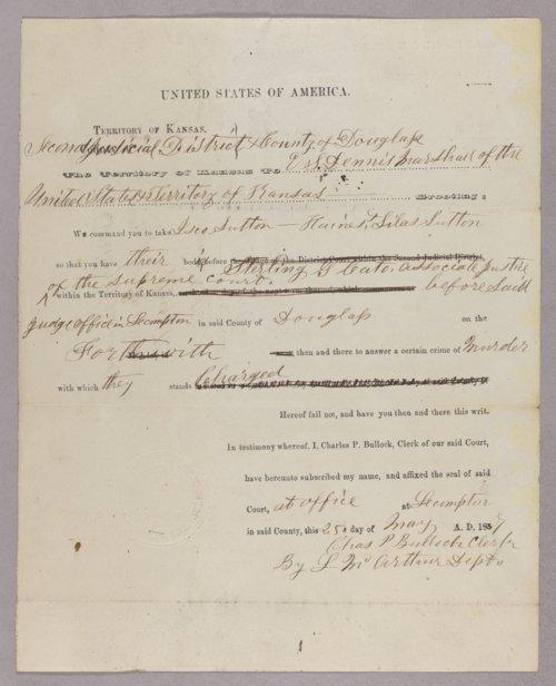Kansas Territory versus Isaac Sutton for murder - Page