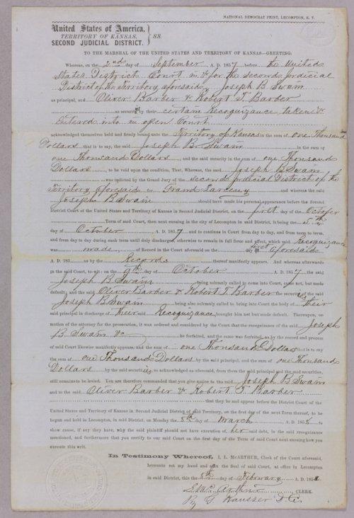 Kansas Territory versus Joseph B. Swain for contempt - Page