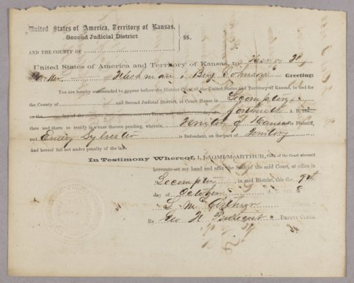 Kansas Territory versus Emery Sylvester for resisting arrest - Page