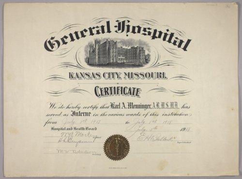 Karl A. Menninger certificate - Page