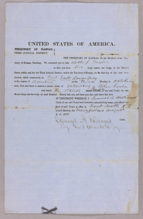Kansas Territory versus Dr. J. Taylor for receiving stolen property - Page