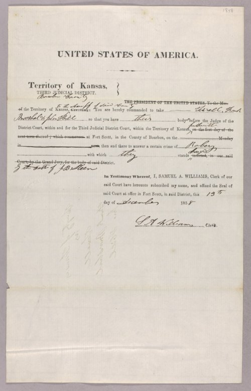Kansas Territory versus Terrell for robbery - Page