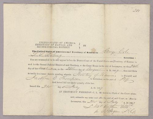 Kansas Territory versus Jackson C. Thompson for selling liquor on Sunday - Page
