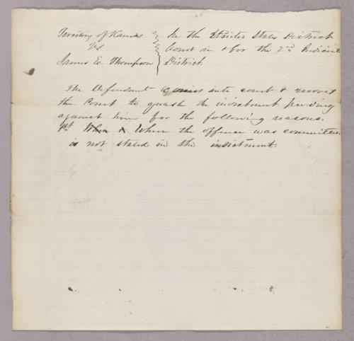 Kansas Territory versus James E. Thompson for selling liquor on Sunday - Page