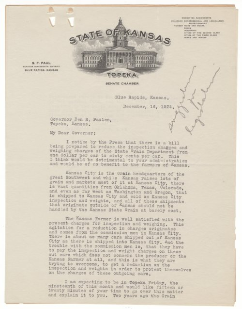 Senator S. F. Paul to Governor Ben S. Paulen - Page