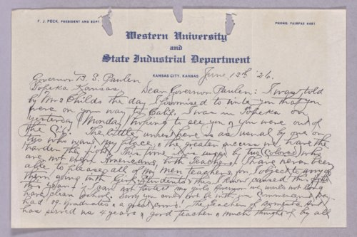 Governor Ben S. Paulen, Western University correspondence - Page