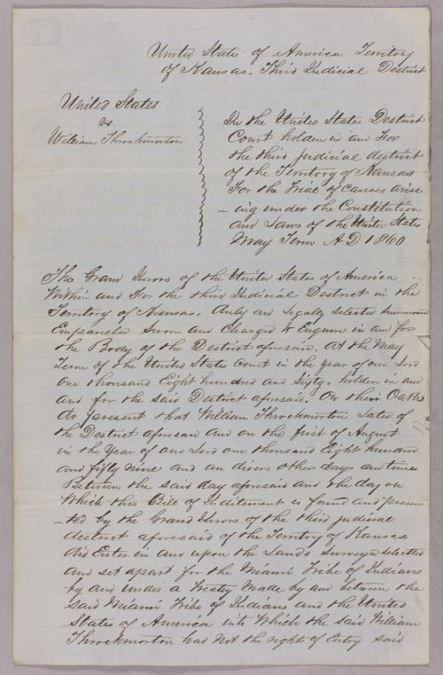 United States versus William Throckmorton for taking Indian timber - Page