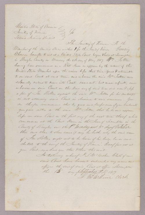 Kansas Territory versus William Totten for contempt - Page