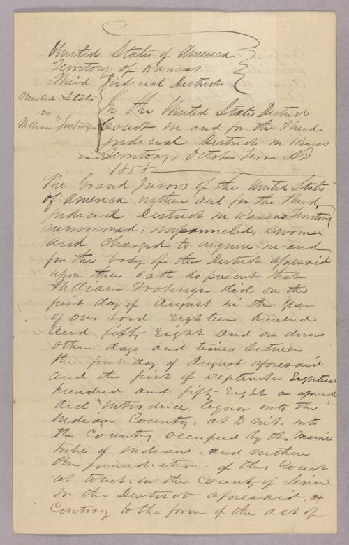 United States versus William Trobinger for selling liquor to Indians - Page