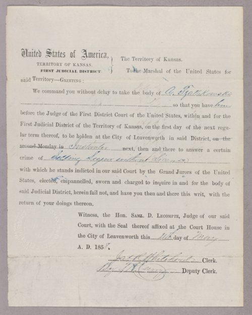 Kansas Territory versus A. Tzattskowski for selling liquor without a license - Page