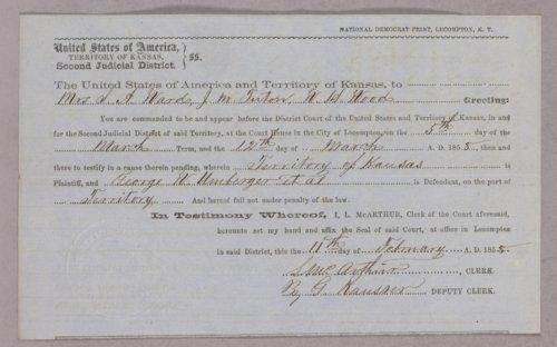 Kansas Territory versus George Umbarger, Isaac Davis, Henry Alderman for larceny - Page