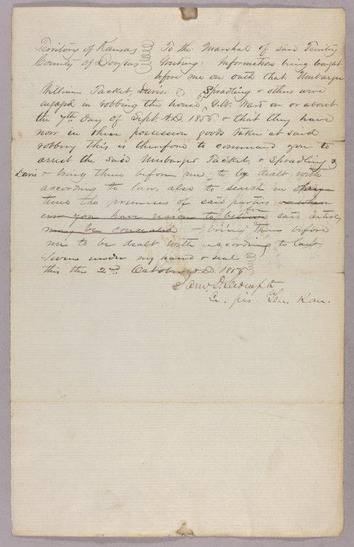 Kansas Territory versus Umbarger, Davis, Spradling for robbery - Page