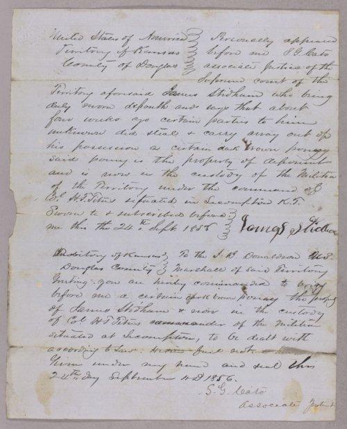 Kansas Territory versus Isaac Stidham for robbery - Page