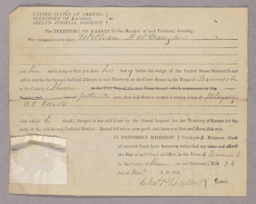 Kansas Territory versus William A. W. Vaughn for gambling - Page