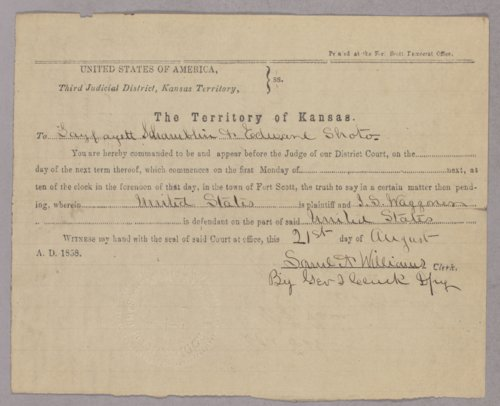United States versus J. S. Waggoner for horse stealing - Page