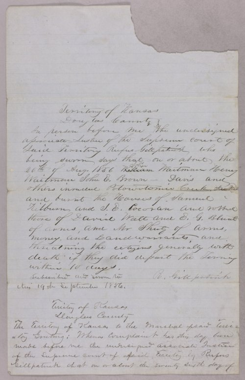 Kansas Territory versus William Waitman, Henry Waitman, John E. Brown for robbery - Page