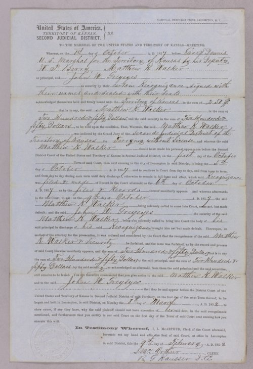 Kansas Territory versus Matthew R. Walker for forfeited recognizance - Page