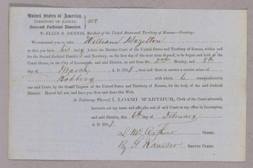 Kansas Territory versus Samuel Walker robbery - Page