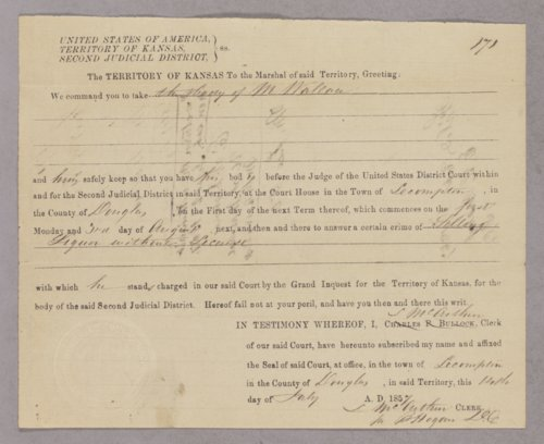 Kansas Territory versus Milligan Wallace for selling liquor without a license - Page