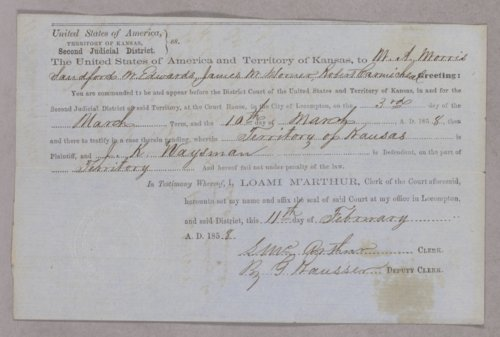 Kansas Territory versus J. K. Waysman for selling liquor without a license - Page
