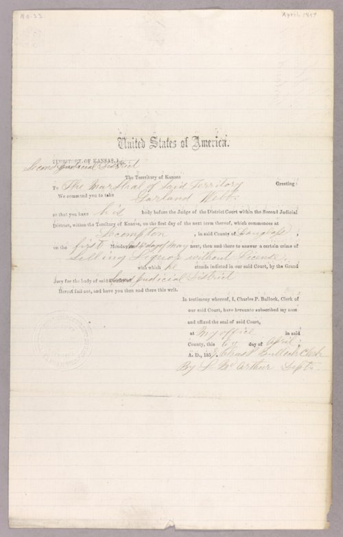 Kansas Territory versus Garland Webb for selling liquor without a license - Page
