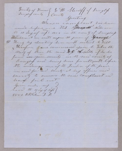 Kansas Territory versus F. O. Wells for assault with intent to kill - Page