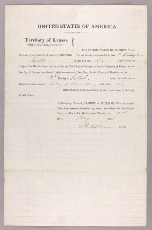 United States versus G. Washington Wells for larceny - Page