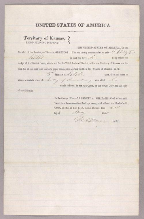 United States versus G. Washington Wells for larceny - Page