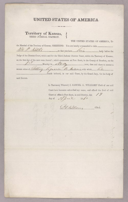 United States versus H. P. Wells for selling liquor to Indians - Page