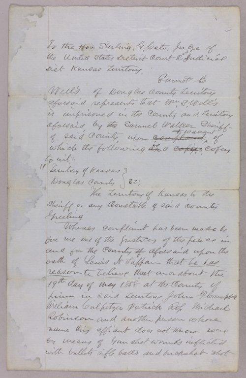 Kansas Territory versus William S. Wells for murder - Page