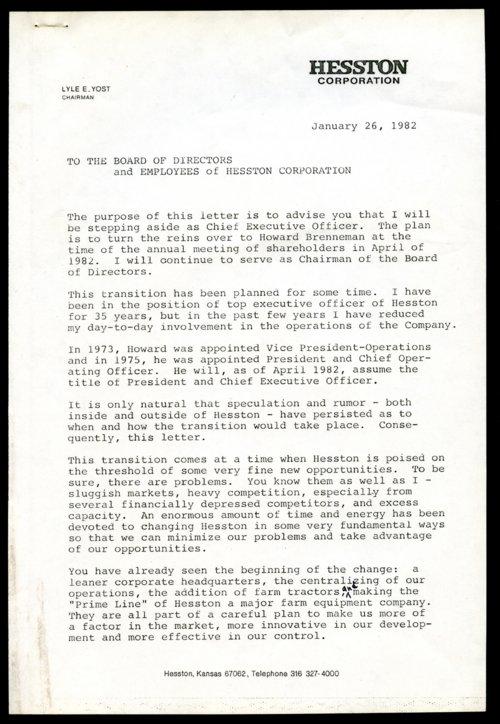 Lyle Yost retirement letter - Page