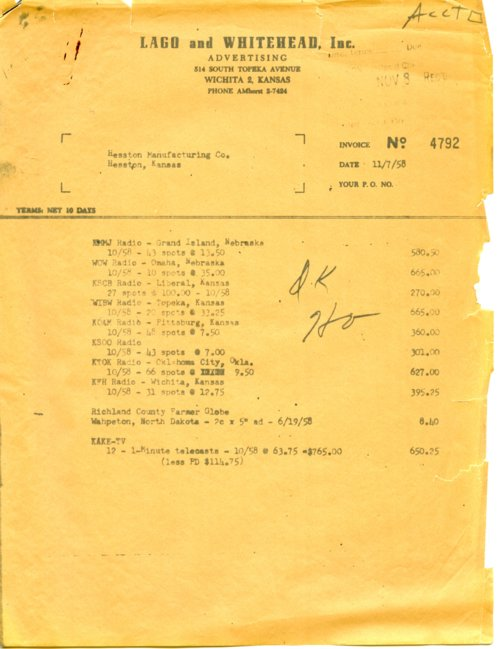 Lago and Whitehead, Incorporated invoice - Page