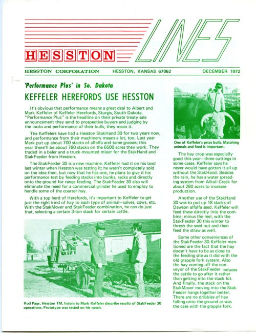 Hesston Corporation newsletter - Page