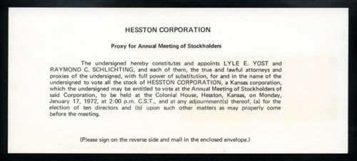 Hesston Corporation proxy card - Page