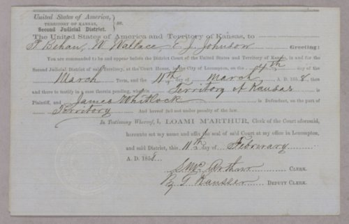 Kansas Territory versus James Whitlock for grand larceny - Page