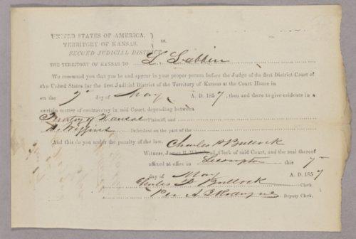 Kansas Territory versus D. Wiggins for gambling - Page