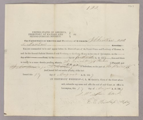 Kansas Territory versus H. H. Williams for subpoena - Page