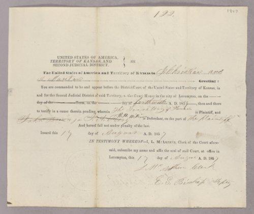Kansas Territory versus H. H. Williams for subpoena - Page