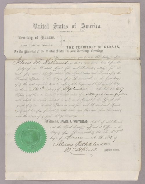 United States versus James M. Williams for attempting to rescue a fugitive - Page