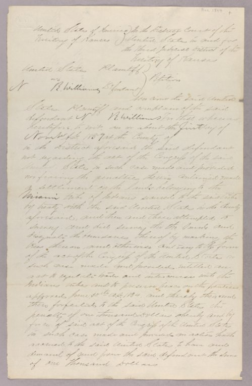 United States versus N. R. Williams for settling on Indian land - Page