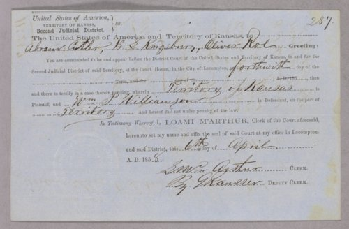 Kansas Territory versus William P. Williamson for selling liquor without a license. - Page