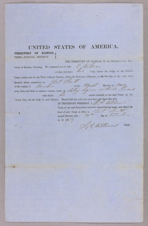 Kansas Territory versus E. Wilson for selling liquor without a license - Page