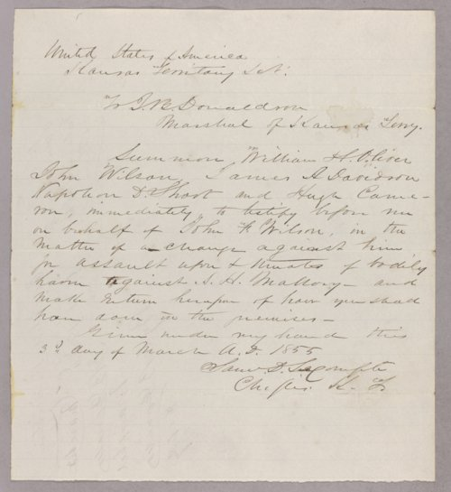 Kansas Territory versus John Wilson for assault - Page