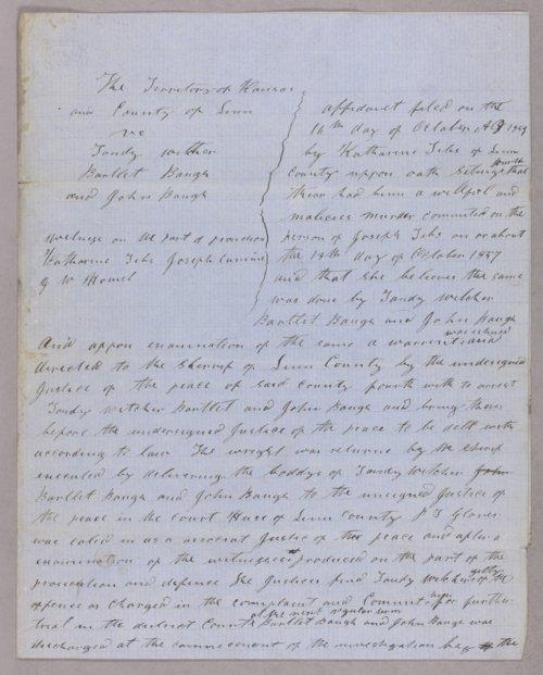 Kansas Territory versus Tandy Witcher, Bartlett Baugh, John Baugh for murder - Page
