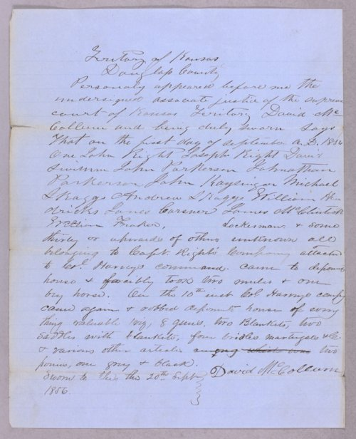 Kansas Territory versus John Wright, James H. Lane for illegal detention - Page